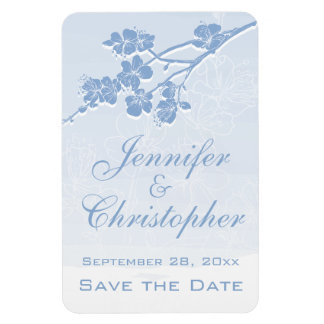 Blue Watercolor Ombre Spring Blossom Save the Date Rectangular Photo Magnet