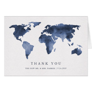 Blue Watercolor on White | World Map Thank You Card