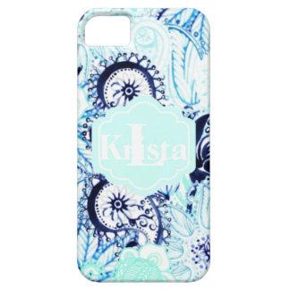 Blue Watercolor Paisley Print w/Full Name Monogram iPhone 5 Case