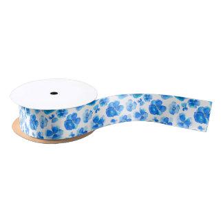 Blue watercolor pansy violas art ribbon satin ribbon