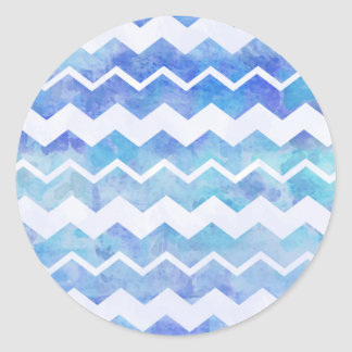 Blue Watercolor Pattern Chevron Pattern Background Classic Round Sticker