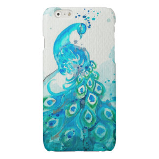 Blue Watercolor Peacock iPhone Case