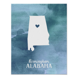 Blue Watercolor Personalized Alabama Art Print