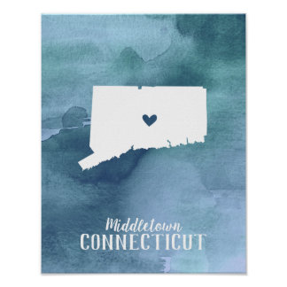 Blue Watercolor Personalized Connecticut Art Print