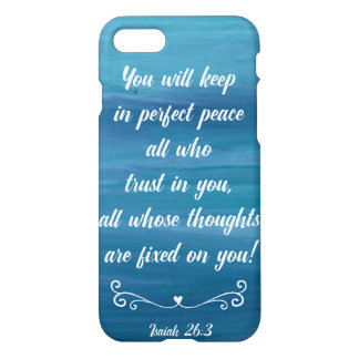 Blue Watercolor Phonecase with Isaiah 26:3 iPhone 7 Case