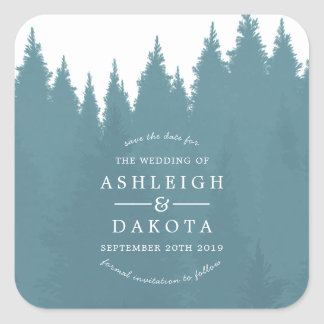 Blue Watercolor Pine Tree Forest   Save The Date Square Sticker