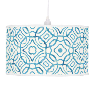 Blue Watercolor Quatrefoil Block Print Hanging Lamp
