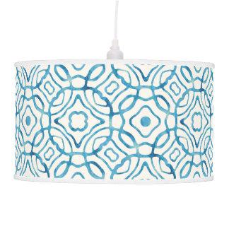 Blue Watercolor Quatrefoil Block Print Pendant Lamp