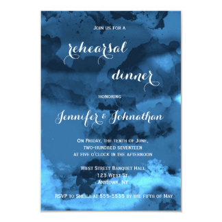 Blue watercolor rehearsal dinner invitations