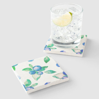 Blue watercolor retro design stone coaster