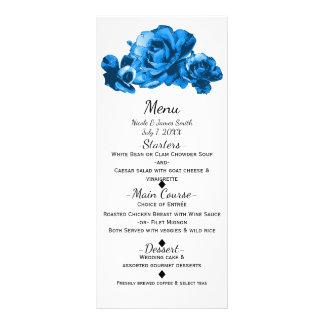 Blue Watercolor Roses Elegant Wedding Menu