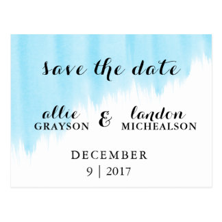 Blue Watercolor Save the Date Postcard