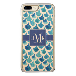 Blue Watercolor Scale Pattern Carved iPhone 8 Plus/7 Plus Case