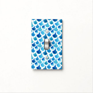 Blue Watercolor Scale Pattern Light Switch Cover