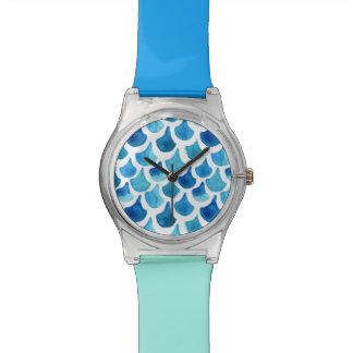 Blue Watercolor Scale Pattern Watch
