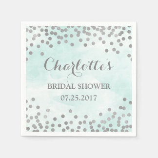 Blue Watercolor Silver Confetti Bridal Shower Paper Napkin