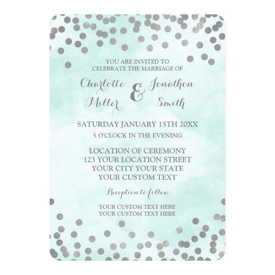 Blue Watercolor Silver Confetti Wedding Invites