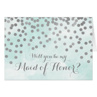 Blue Watercolor Silver Dots Maid of Honour Invite Card