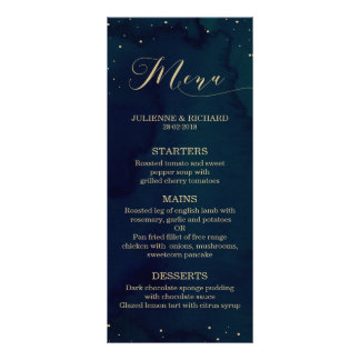 Blue Watercolor Snowy Night Winter Wedding Menu