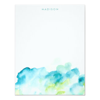 "Blue Watercolor Splash Thank You Notes 4.25"" X 5.5"" Invitation Card"