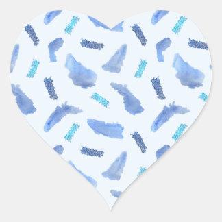 Blue Watercolor Spots Glossy Heart Sticker
