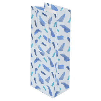Blue Watercolor Spots Glossy Wine Gift Bag