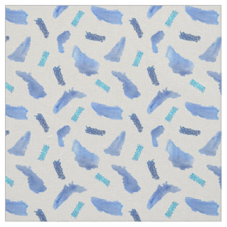 Blue Watercolor Spots Ivory Linen Fabric