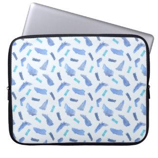 Blue Watercolor Spots Laptop Sleeve 15''