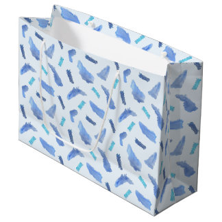 Blue Watercolor Spots Large Glossy Gift Bag