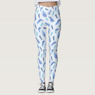 Blue Watercolor Spots Leggings