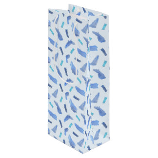 Blue Watercolor Spots Matte Wine Bag