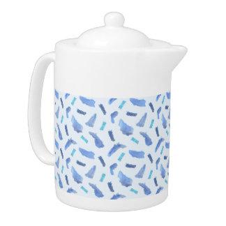 Blue Watercolor Spots Medium Teapot