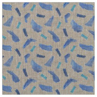 Blue Watercolor Spots Natural Linen Fabric