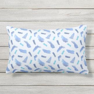 Blue Watercolor Spots Outdoor Lumbar Throw Pillow