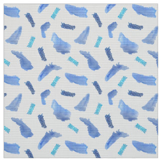 Blue Watercolor Spots Polyester Weave Fabric