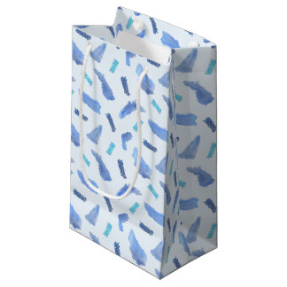 Blue Watercolor Spots Small Glossy Gift Bag