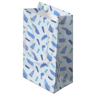 Blue Watercolor Spots Small Matte Gift Bag