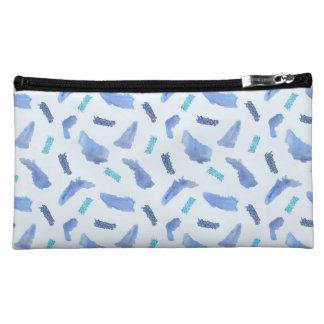 Blue Watercolor Spots Sueded Medium Cosmetic Bag