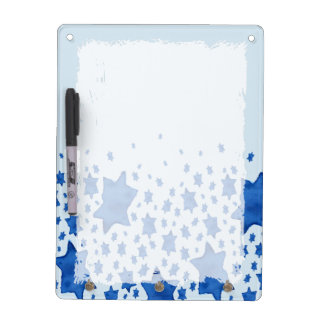 Blue Watercolor Star of David Dry Erase Board