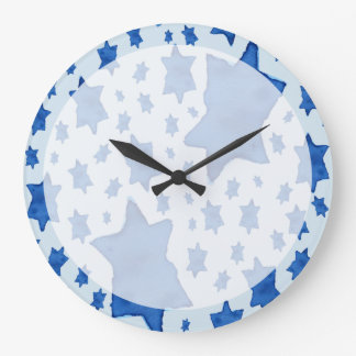 Blue Watercolor Star of David Large Clock