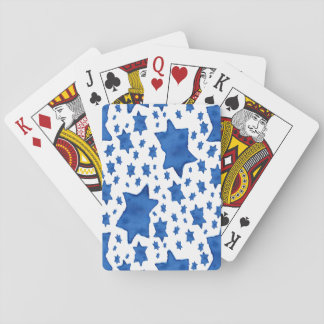 Blue Watercolor Star of David Playing Cards