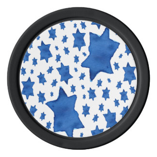 Blue Watercolor Star of David Poker Chips