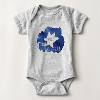 Blue Watercolor Star of David Resist Baby Bodysuit