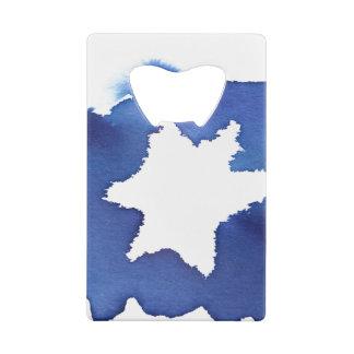 Blue Watercolor Star of David Resist Credit Card Bottle Opener