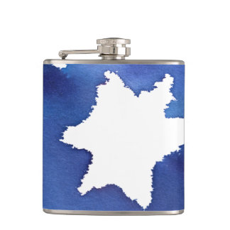 Blue Watercolor Star of David Resist Hip Flask