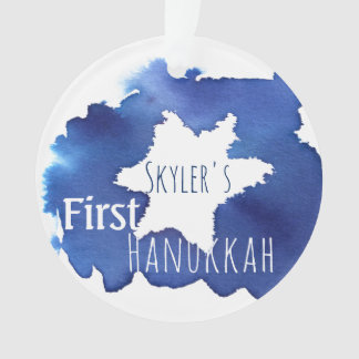 Blue Watercolor Star of David Resist Ornament