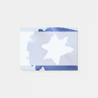Blue Watercolor Star of David Resist Post-it Notes