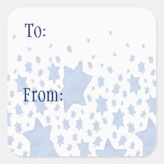 Blue Watercolor Star of David Square Sticker