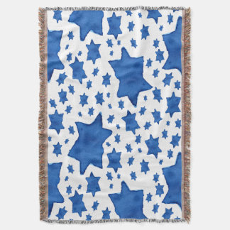 Blue Watercolor Star of David Throw Blanket