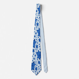 Blue Watercolor Star of David Tie